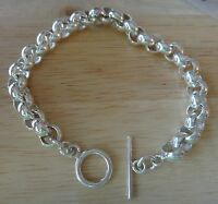 "8"" Heavy 25gram 9mm Rolo link Sterling Silver Charm Bracelet Toggle Clasp"