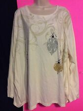 Women Plus Liz & Me 30/32 4X Cream Knit Top Ornament Christmas Shirt Long Sleeve