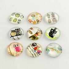 LOT de 10 CABOCHONS en VERRE thème HIBOU OWL CHOUETTE ronds 10mm perles bijoux