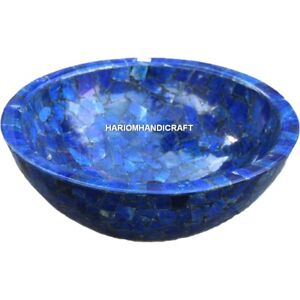 """12"""" Handmade Indien Marble Washbasin Inlay Collected Lapis Stone Rare Arts H4984"""
