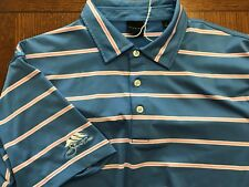DUNNING GOLF PINK-BLUE STRIPED 93% POLY 7 SPANDEX GOLF SHIRT EXC COND SZ L