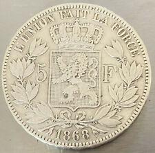 5 Francs Belge Leopold II 1868 Argent Silver