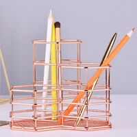 Rose Gold Pencil Holder - Metal Wire Makeup Brush Organizer for Home School