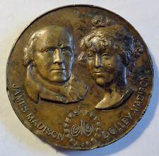 1988 James & Dolley Madison Bronze Medal For Madison Hotel Medallic Art