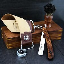 OLD STYLE  BARBER SALON STRAIGHT CUT THROAT SHAVING RAZOR Gift Set Luxury Kit