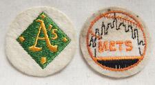 "**Lot of 2** 2"" VINTAGE SPORTS PATCH MLB Major Leage Baseball Emblem A's Mets"