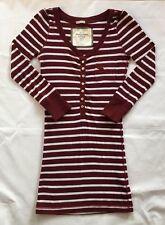Women's Abercrombie & Fitch Maroon Striped Henley Knit Top-Size XS