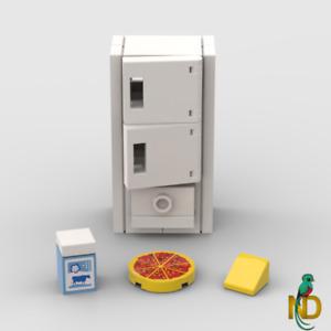 Lego Refrigerator w/ Pizza & Milk- Minifigure Kitchen White Freezer Fridge MOC