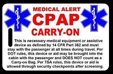 Carry-On CPAP  Bag Tag - TSA - CPAP BiPAP APNEA POC