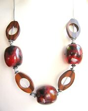 Red Brown wood chunky big Bead Statement Necklace Fair Trade Arty Funky Boho 26""
