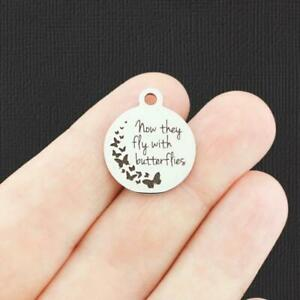 Memorial Stainless Steel Charm - Now they fly with butterflies - BFS4643