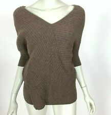Vince V neck Yak Wool Blend Sweater 3/4 Sleeve Pullover Brown Stretch Women XS