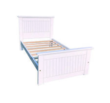 Brand New Americas Single Bed Twin Size White Finish Solid Pine Wood