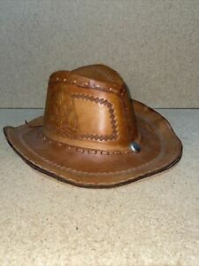Hand tooled Leather Brown Cowboy Hat Mexican Chief Bull Cow Steer Rare VTG Cap