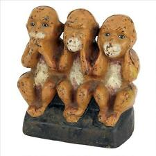 Speak See Hear No Evil Wise Monkeys Distressed Replica Cast Iron Still Bank