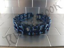 Huge blue Motorbike Biker Chain 316L Stainless Steel Bracelet chunky motorcycle