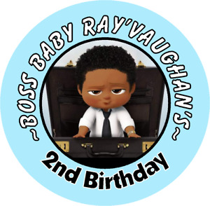 BABY BOSS BLACK BIRTHDAY CUSTOM PARTY ROUND STICKERS FAVORS AFRICAN AMERICAN
