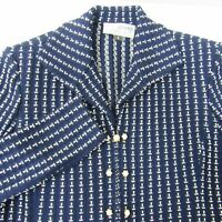 St John Marie Gray Navy Blue Blazer Jacket w/ Pearl Style Buttons Size 6