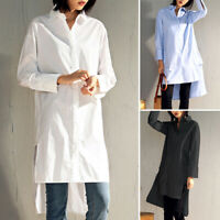 UK Women High Low Long Sleeve Casual Loose Shirt Collared Button Down Top Blouse