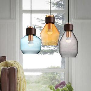 Modern Glass Wood Pendant Lamp Metal Ceiling Light Fixture Chandelier Hall Decor