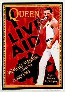 QUEEN Live Aid Poster Wembley 1985 New Tribute Hand-Signed David Byrd S/N COA