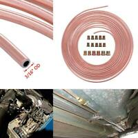 "Pro 50 Ft. Roll Coil of 3/16"" OD Copper Nickel Brake Line Tubing Kit Fittings"