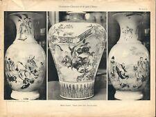 Stampa antica VASI DECORAZIONI CINESI T. 64-65-66 CINA CHINA 1920 Antique print