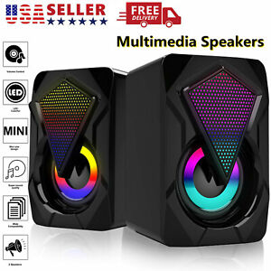 RGB LED USB Wired Computer Mini Speakers Stereo Bass For PC Desktop Laptop USA