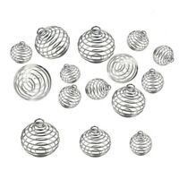 30PCS Spiral Bead Cages Pendants Silver Plated Craft Jewelry Making DIY Gift*_*