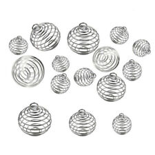 30Pcs Spiral Bead Cages Pendants Silver Craft Jewelry Making Diy Gift Nj
