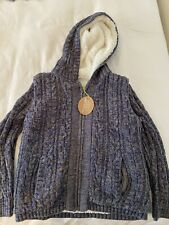 Nwt Egg by Susan Lazar Liam Indigo Sweater Sherpa Lined Cable Knit Size 7