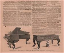 STEINWAY & SONS PIANOS, London Exhibition Winner, antique engravings, 1862