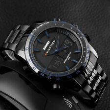 SKM Analog Digital Herren Armband Uhr Schwarz Blau Chronograph Datum 2 Uhrwerke