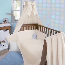 CLAIR DE LUNE CREAM WAFFLE 3 PIECE COT / COT BED BEDDING SET QUILT BUMPER SHEET