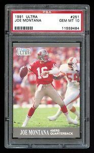 1991 Ultra - JOE MONTANA - Card #251 - PSA 10 GEM MINT - San Francisco 49ers HOF