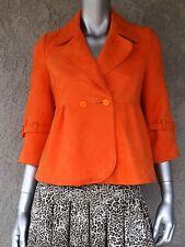 Orange Velour Leather 3/4 Sleeve One Button Front Short Coat Jacket Sz M