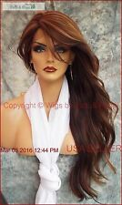LONG LOOSE BEACHY WAVES WIG HEAT SAFE  STUNNING COLOR P4.27.30 BLACK US SELL 423