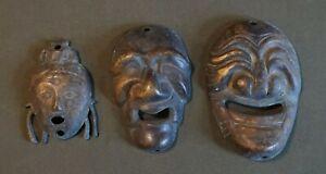 3 Korean Souvenir Brass Miniature Masks
