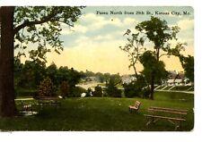 Paseo North from 29th Street-Park Benches-Kansas City-Missouri-Vintage Postcard