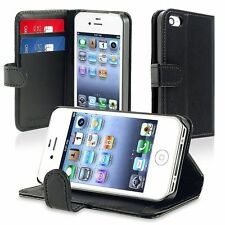 Black Wallet Flip Cover Case with Card Holder for Apple iPhone 4 4s