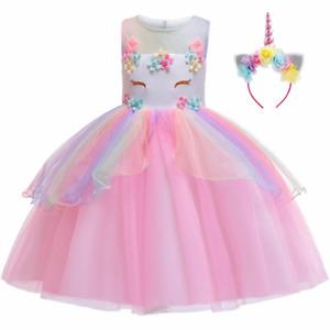 2021 Girls Unicorn Dress Up Party Costume w/ Rainbow Headband Kids Fancy Outfit
