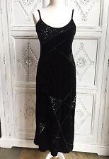 Vintage Escada Black Velvet Evening Gown/Dress 1990s - Size 8-10