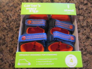 Carter's Wilson Navy blue orange Infant 4 Leather Sandals stand stage 2 NIB New