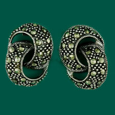 Classical Vintage Style Sterling Silver & Marcasite Large Stud Earrings