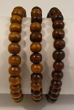 Set of 3 Mens Wooden Bead Tribal / Surfer Elastic Bracelet - Brown Mix - NEW