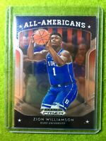 PANINI PRIZM ZION WILLIAMSON ROOKIE CARD JERSEY #1 DUKE RC PELICANS 2019 PrizmDP
