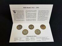 2 DM Satz Fünf Münzen Willy Brandt 1913 - 1992 MDM - A D F G J