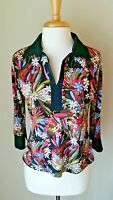 Coin Spring Summer Retro Multi-Colored 3/4 Sleeve Floral Blouse Top Shirt Size M