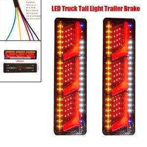 Pair 24V LED Truck Tail Light Brake Running Turn Signal Reverse Indicator Lamp