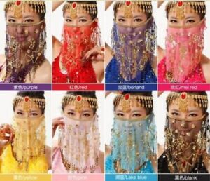 Belly Dance Accessories Dancing Chiffon Sequin Beaded Coins Face Veils Costume